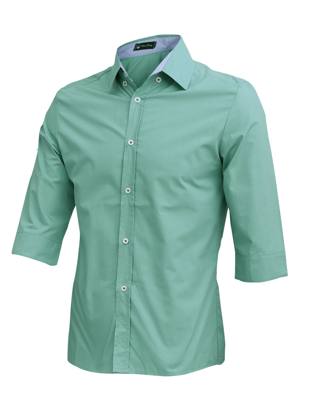 Men Button Up 3/4 Sleeve Leisure Shirt Dusty Green M