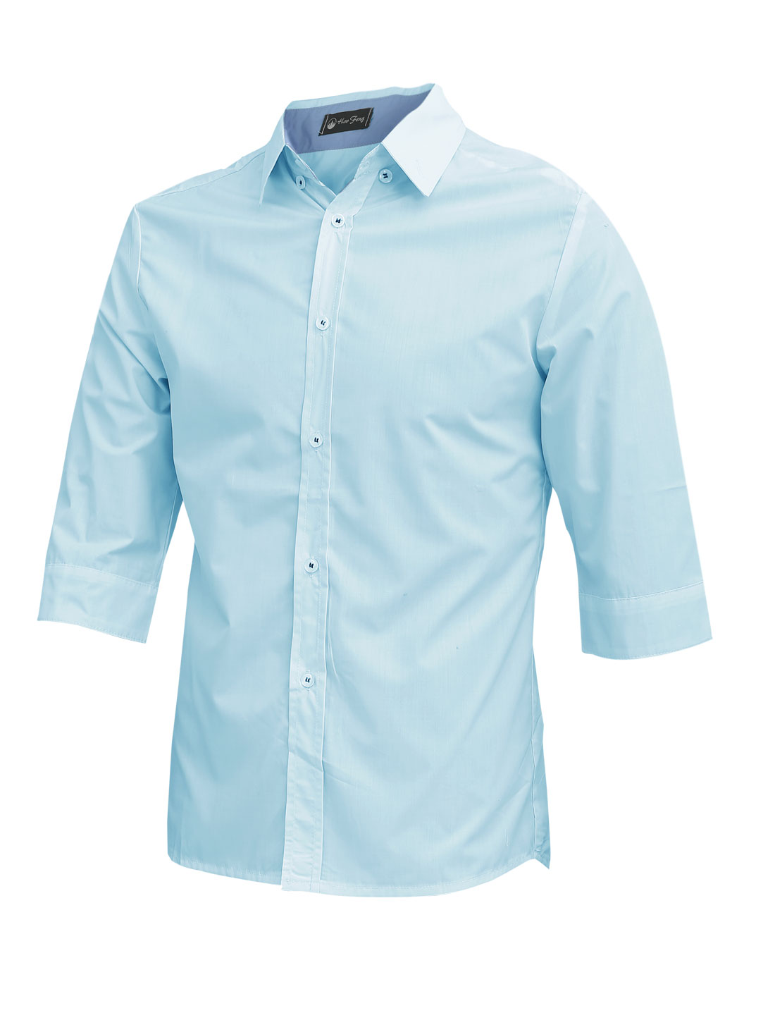 Men Point Collar Button Closure 3/4 Sleeve Casual Shirt Sky Blue M