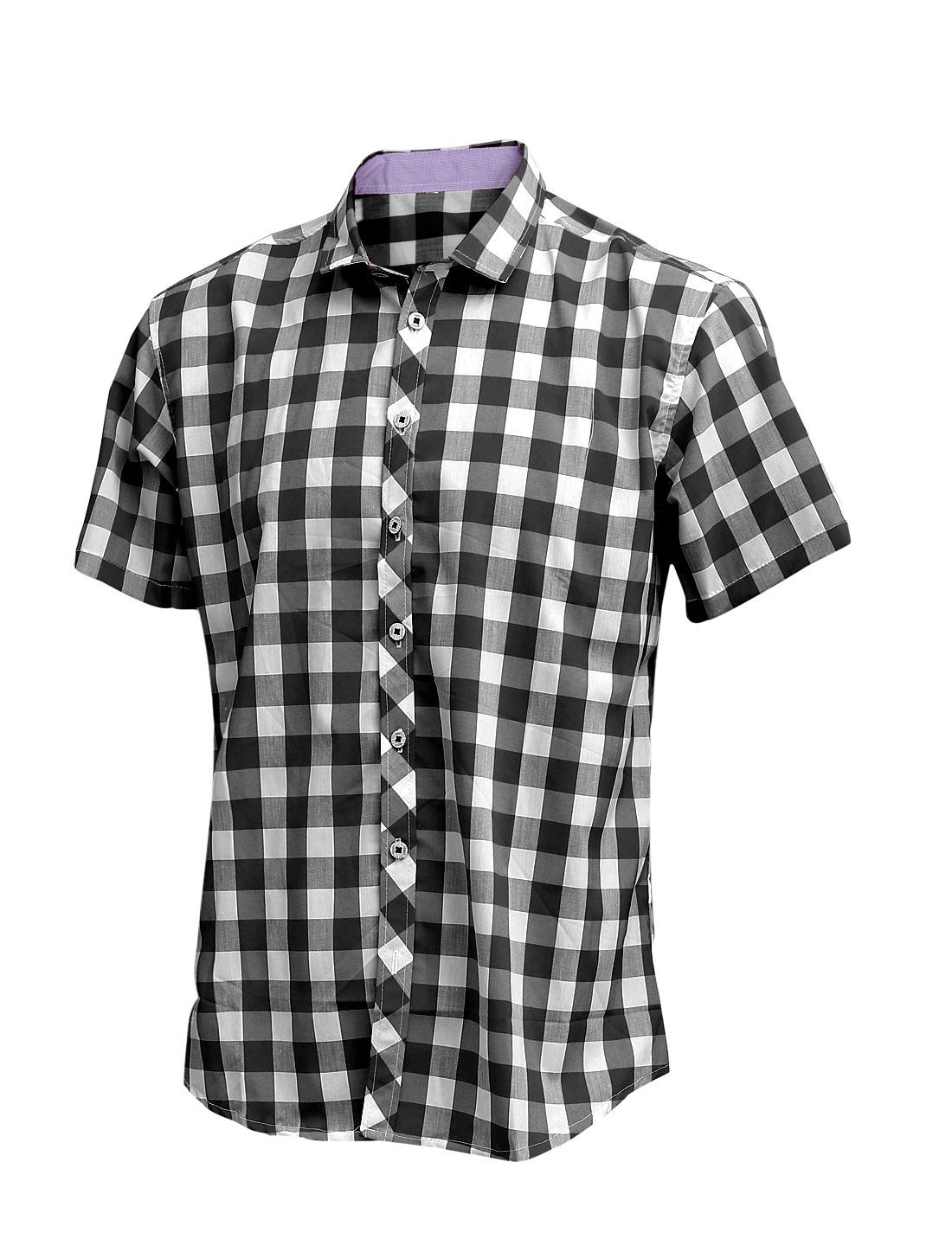 Men New Style Short Sleeve Button Up Plaids Pattern Shirt Black M