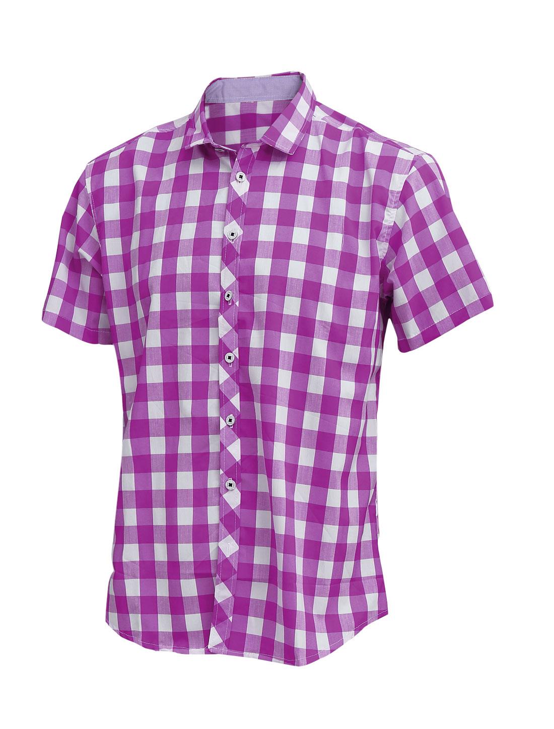 Men Summer Short Sleeve Button Up Plaids Pattern Shirt Purple M