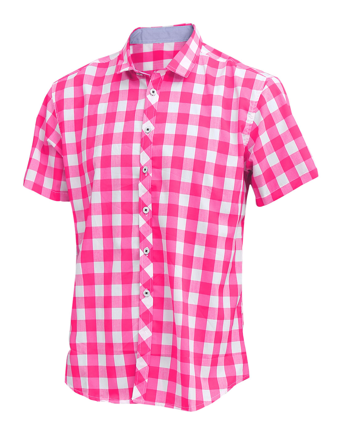 Men Point Collar Short Sleeve Button Up Plaids Pattern Shirt Fuchsia M