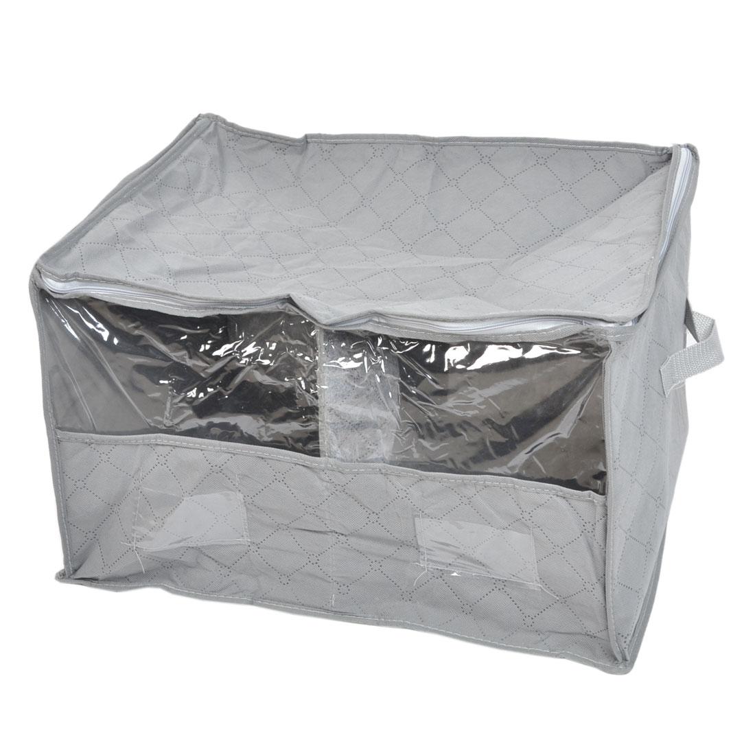 Home Grids Pattern Zip up Rectangle Underwear Storage Bag Gray