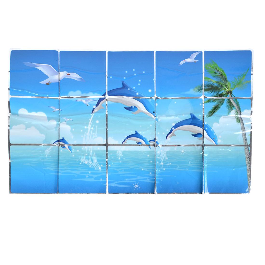 Kitchen Sheet Blue Sea Dolphin Print Sticker Decal 75cm x 45cm