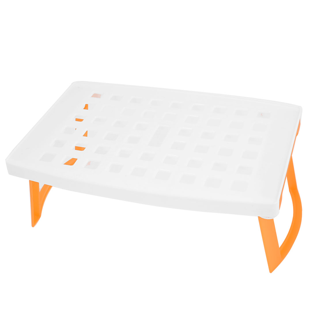 Home Kitchen White Orange Plastic Microwave Oven Baking Steaming Rack Tray Stand 245 x 165 x 88mm