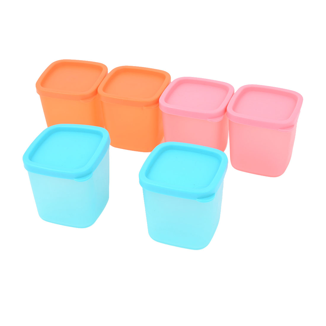 6 Pcs Assorted Colors Plastic Mini Storage Box Canister w Lid