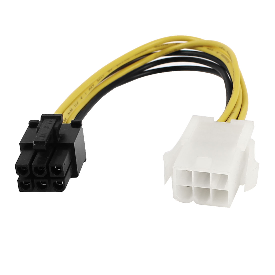 2 Pcs Yellow Black ATX 6pin Male to 6pin Female Power Sata Adapter Cable Lead 20cm 8-inch
