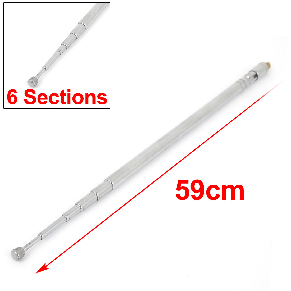 Radio TV Female Thread Telescopic Antenna Remote Aerial Replacement 59cm Length 6 Sections