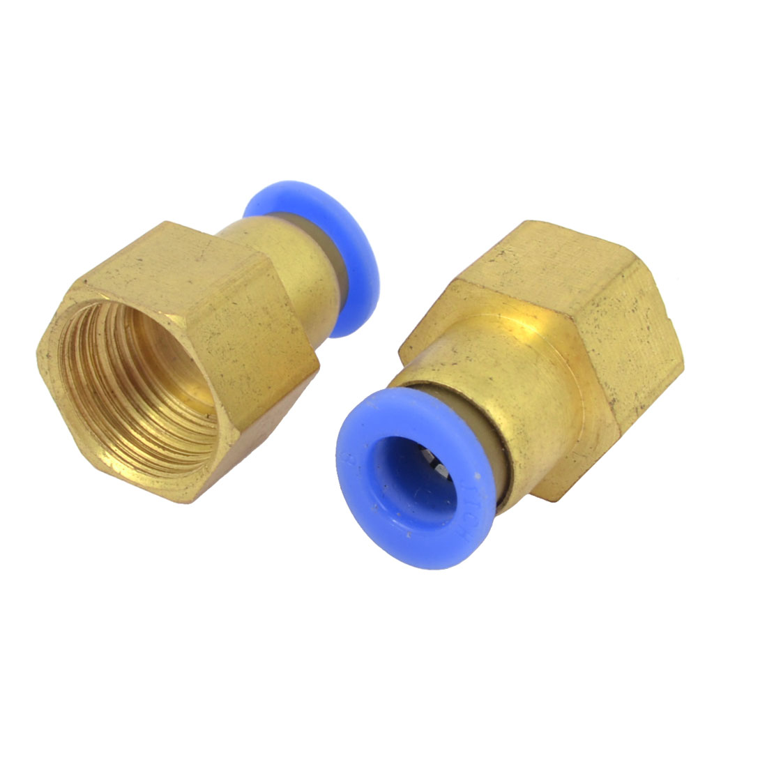 2 Pcs 29mm Long 1/2BSP Female Thread Gold Tone Brass Air Pneumatic Push-in Fitting Quick Coupling