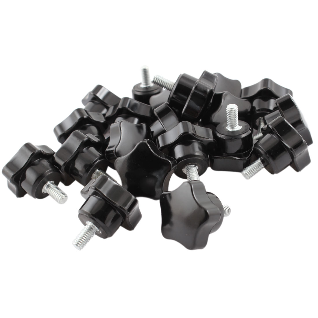20 Pcs Black Plastic M6 x 10mm Male Threaded Knurled Grip Star Knob