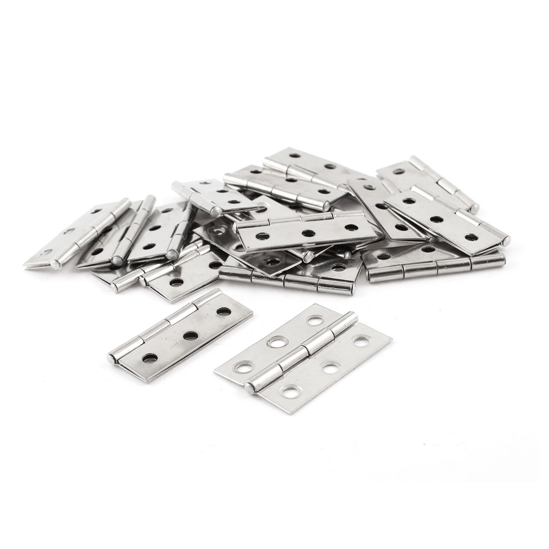 "1.8"" Long Hardware Silver Tone Rectangle Closet Cabinet Door Hinge 20 Pcs"
