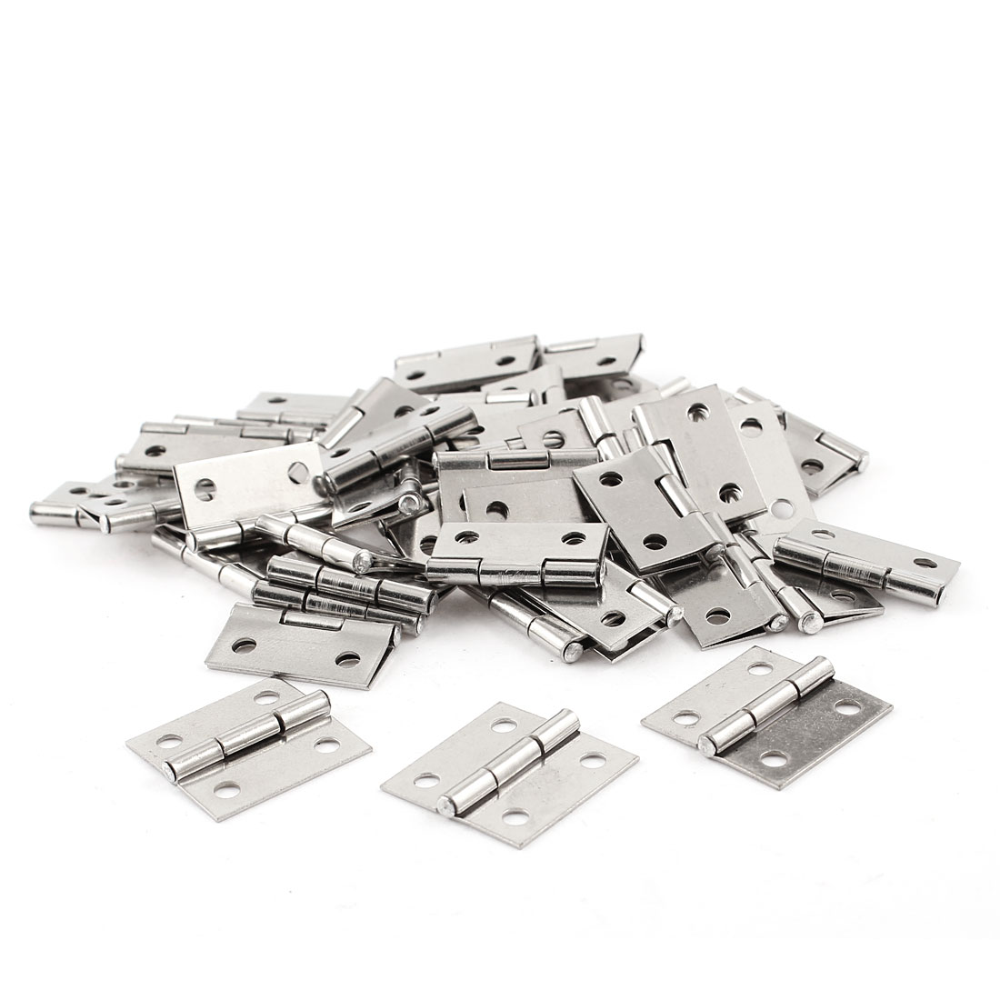 "1"" Long Hardware Silver Tone Rectangle Closet Cabinet Door Hinge 50pcs"