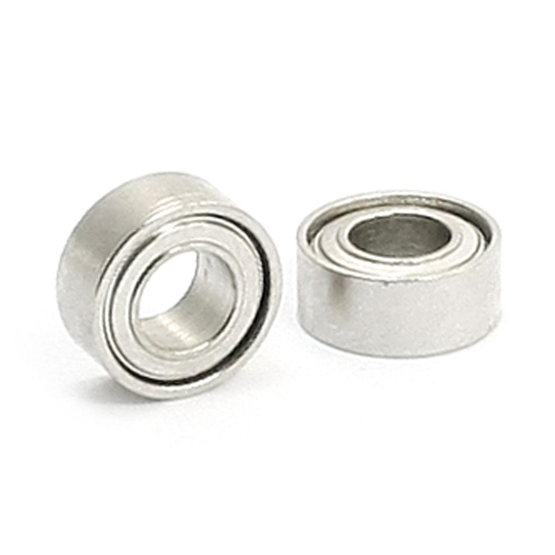 Single Row Shielded Deep Groove Ball Bearings 3mm x 6mm x 2.5mm 2pcs