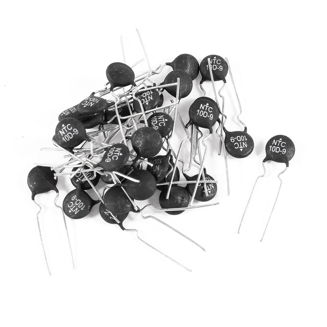 9mm Head Diameter 10 Ohm NTC Thermistors Black Silver Tone 30 Pcs