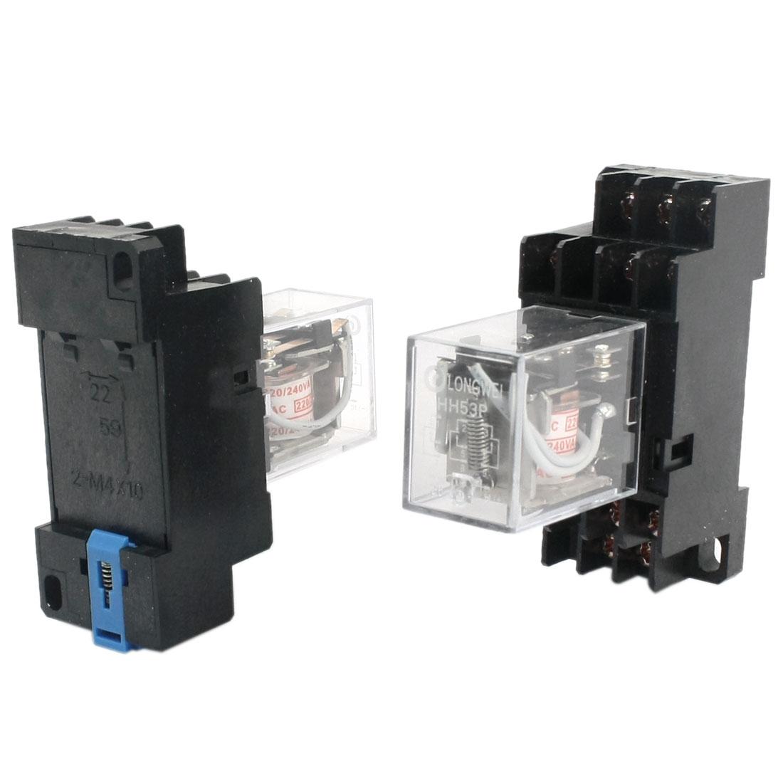 2pcs HH53P AC 220/240V Coil 11 Pin 3NO 3NC Power Relay w DYF11A Base Socket