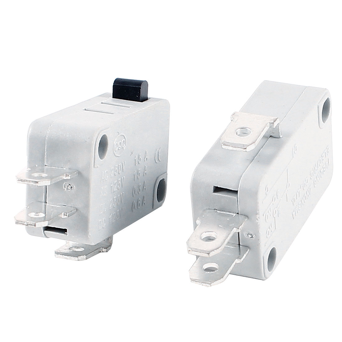 2 Pcs 3 Pin 3-Terminals Push Button Actuator SPDT Micro Switch Off White