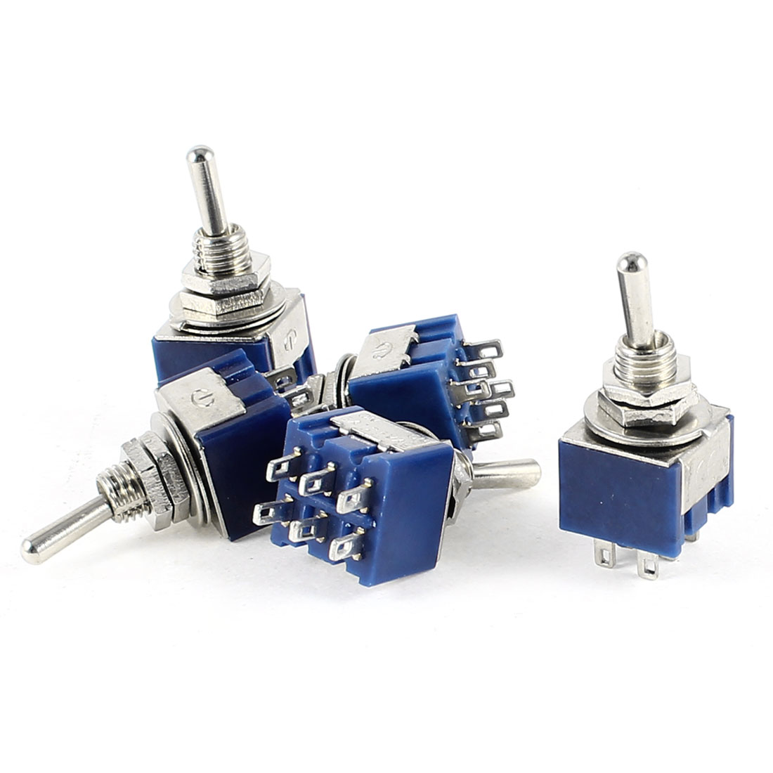 5 Pcs AC 6A 125V DPDT 2 Position ON/ON Latching Toggle Switchs
