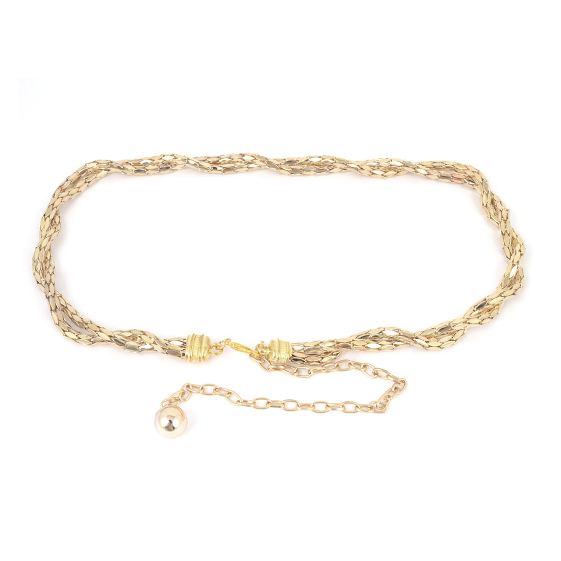 Ladies Lobster Clasp Glittery Gold Tone Adjustable Metal Waist Chain Belt