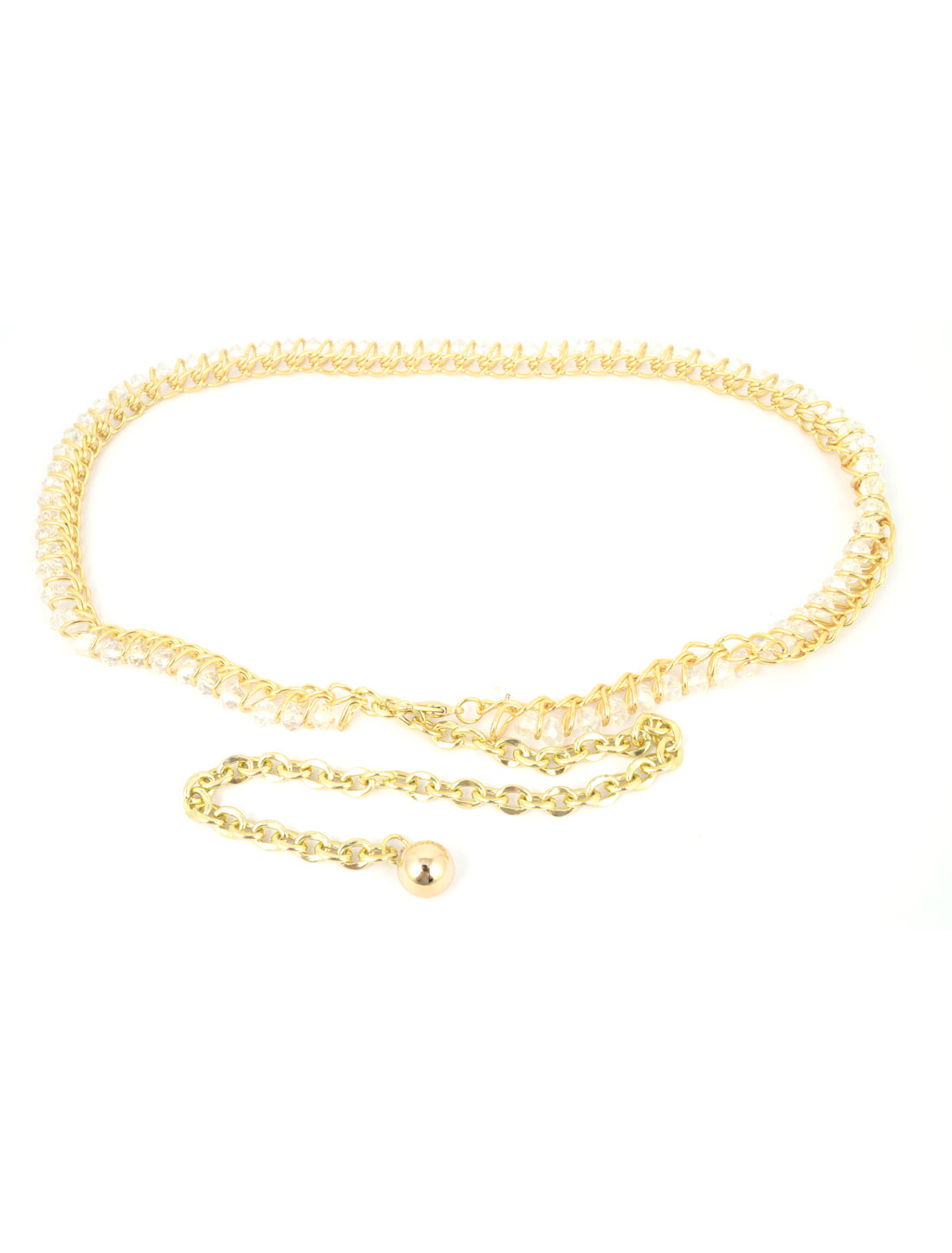 Ladies Clear Faceted Plastic Crystal Linked Adjustable Metal Waist Chain Belt