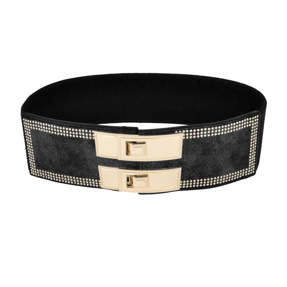 Ladies Metal Beads Detail Interlocking Buckle Elastic Waist Belt Black