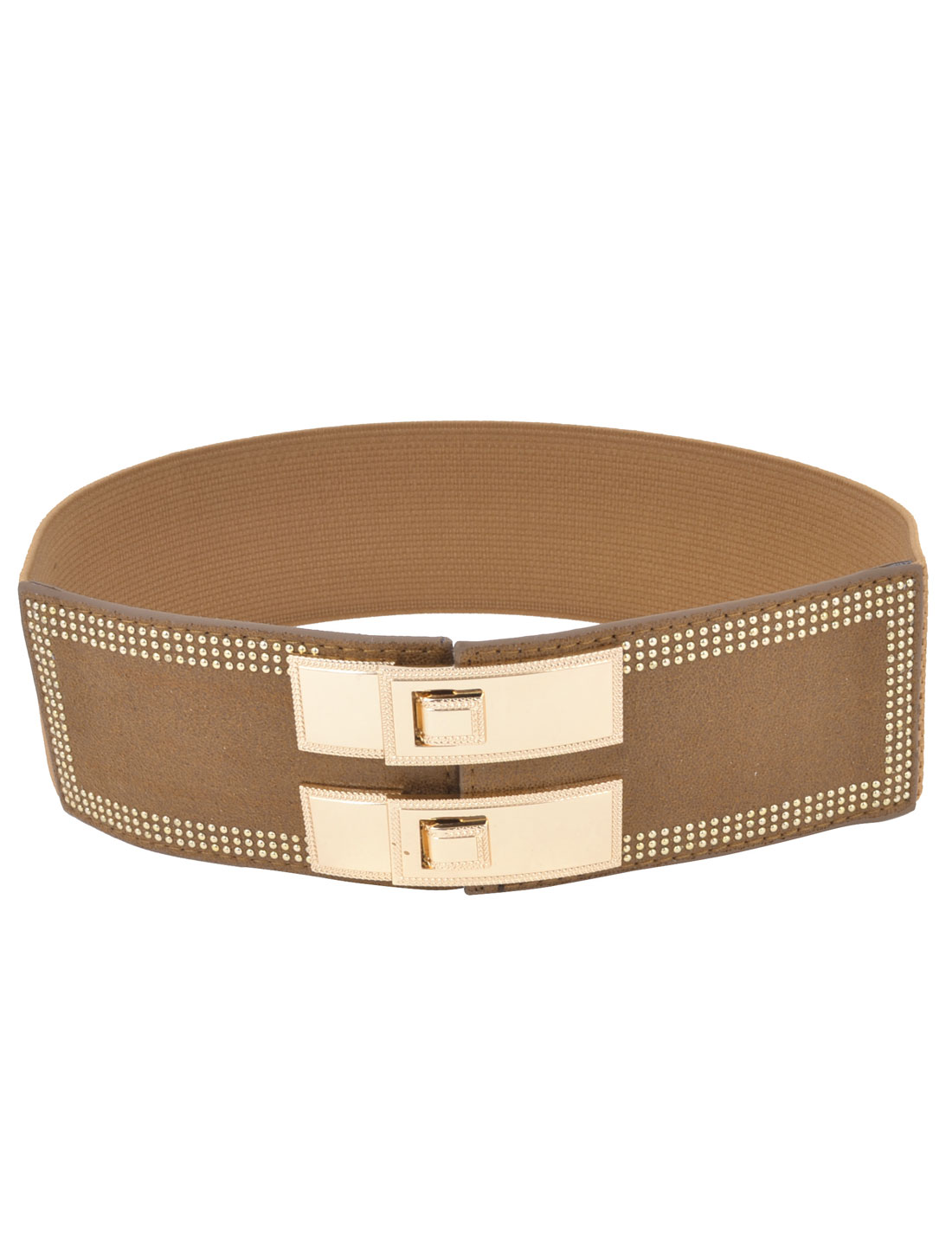 Ladies Metal Beads Detail Interlocking Buckle Elastic Waist Belt Brown