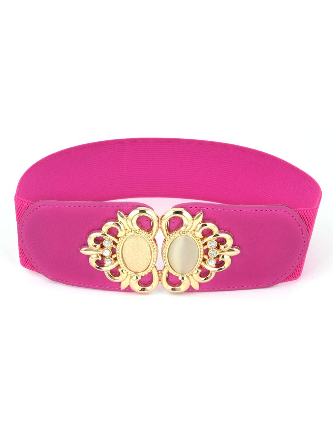 Ladies Plastic Bead Inlay Flower Frame Interlocking Buckle Elastic Waist Belt Fuchsia
