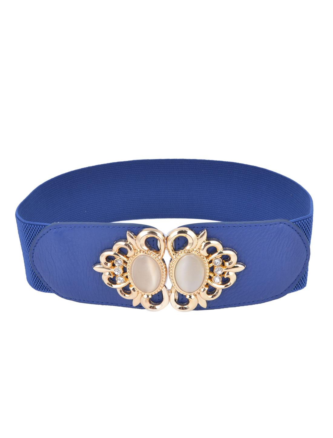 Ladies Plastic Bead Inlay Flower Frame Interlocking Buckle Elastic Waist Belt Royal Blue