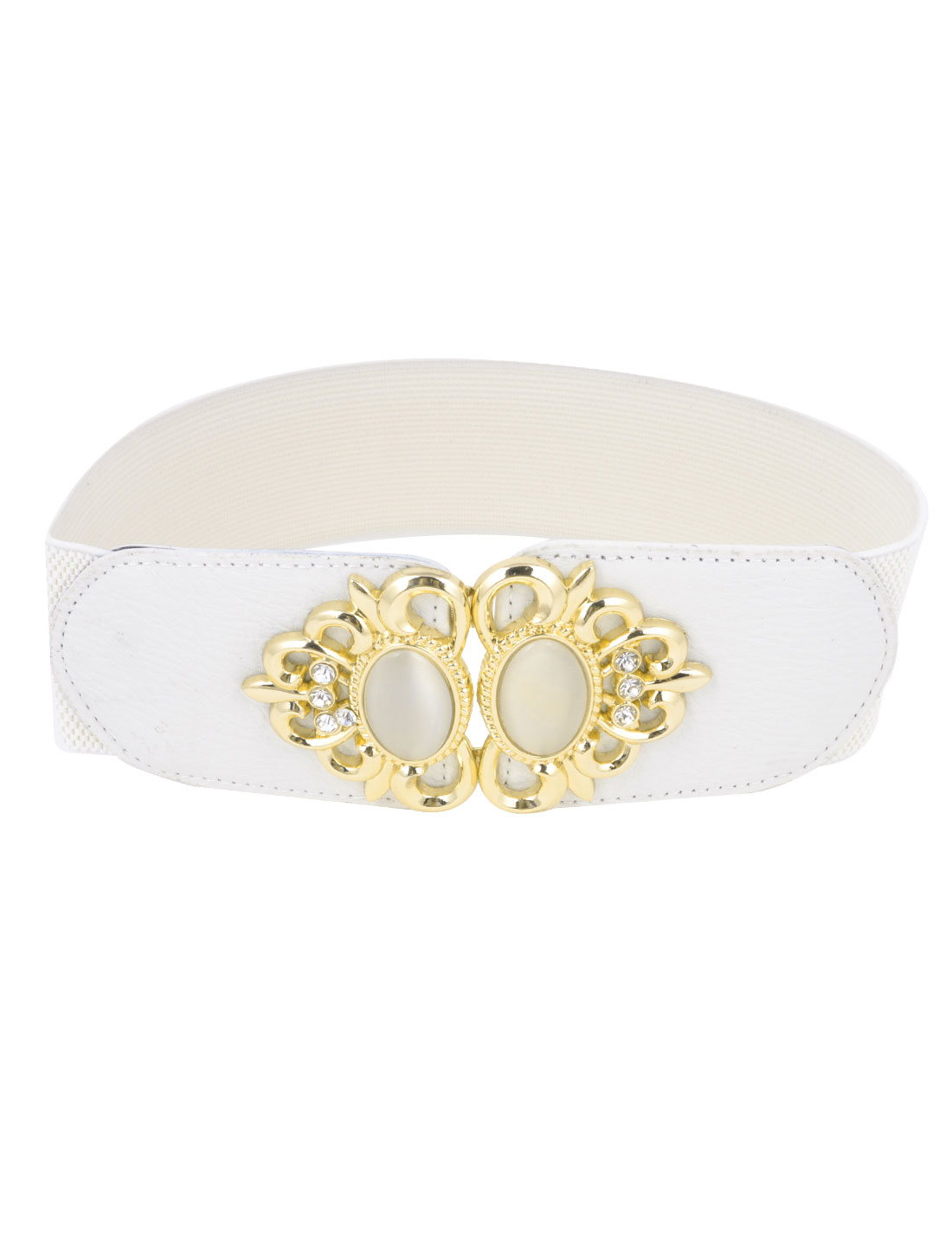 Ladies Plastic Bead Decor Flower Frame Interlocking Buckle Elastic Waist Belt White