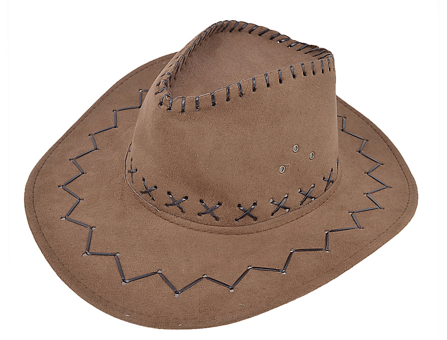 Man String Braided Hunting Adjustable Chin Strap Faux Suede Cowboy Hat Brown