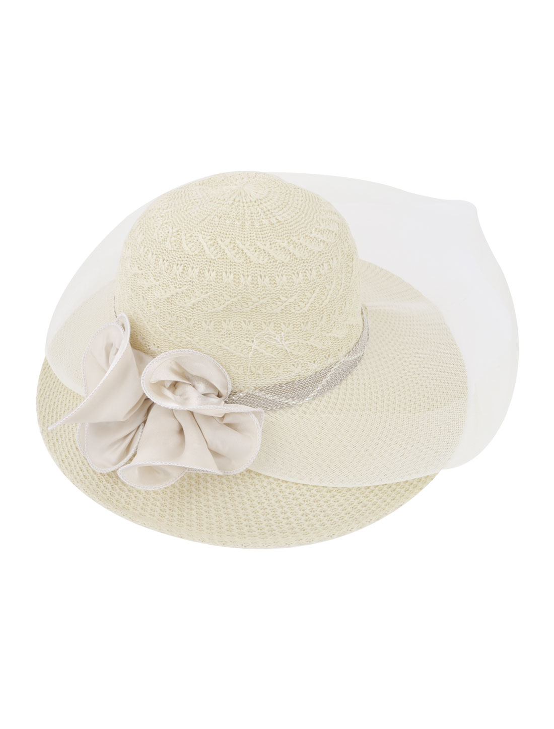Lady Travel Beach White Gauze Surrounded Gray Polyester Flowers Detail Wide Brim Ivory Sun Hat Cap