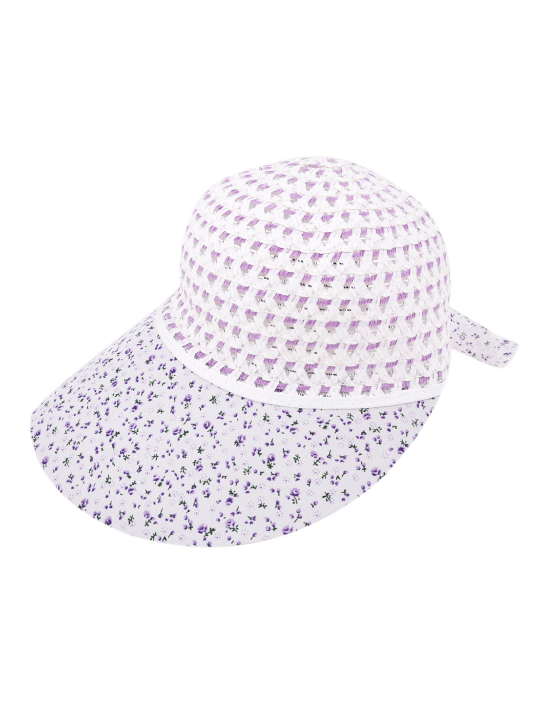 Woman Straw Braided Purple Flower Print Plastic Brim Nylon Beach Sun Visor Cap Hat White
