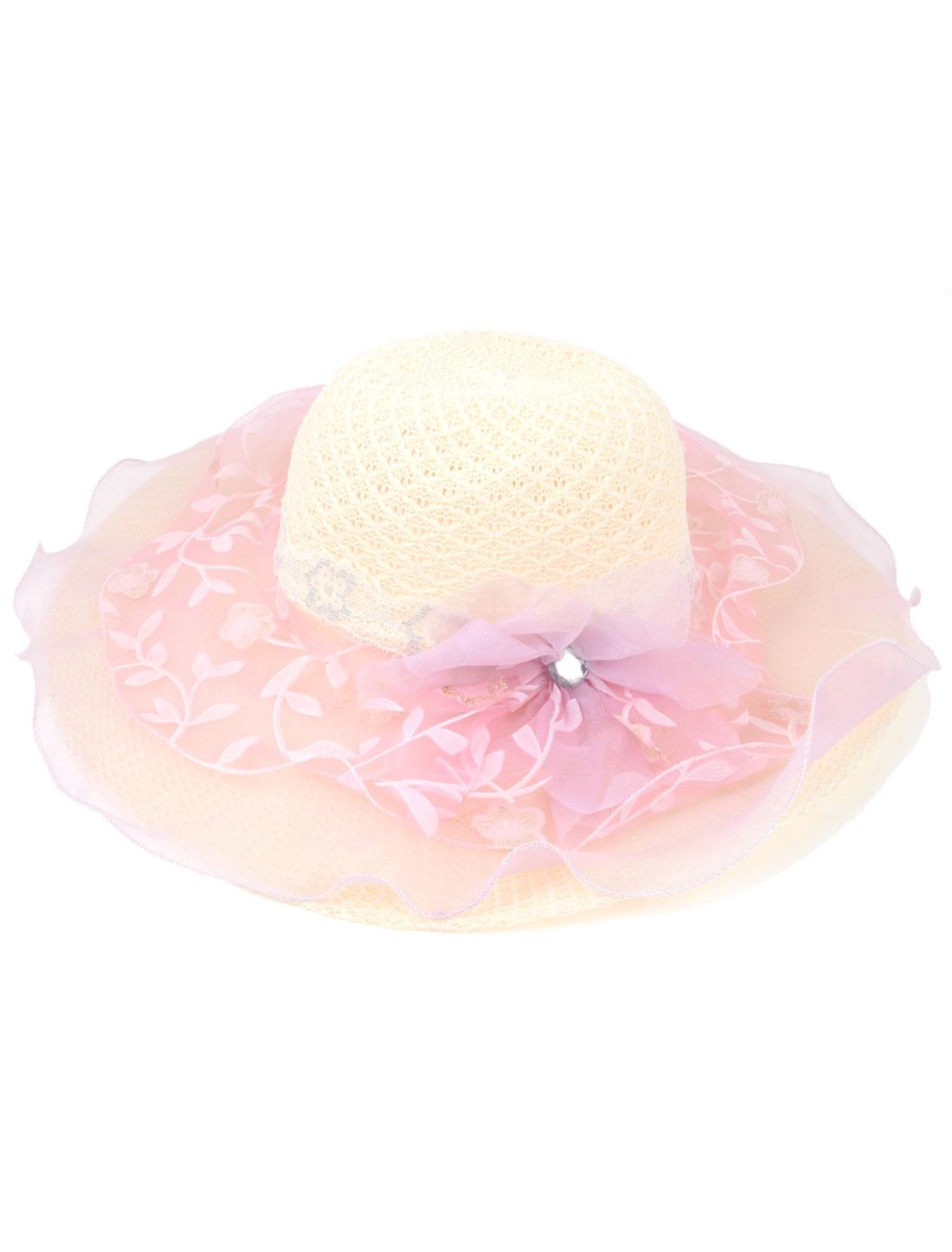 Lady Gauze Surrounded Pink Flowers Detail Beige Wide Brim Beach Travel Sun Hat Cap
