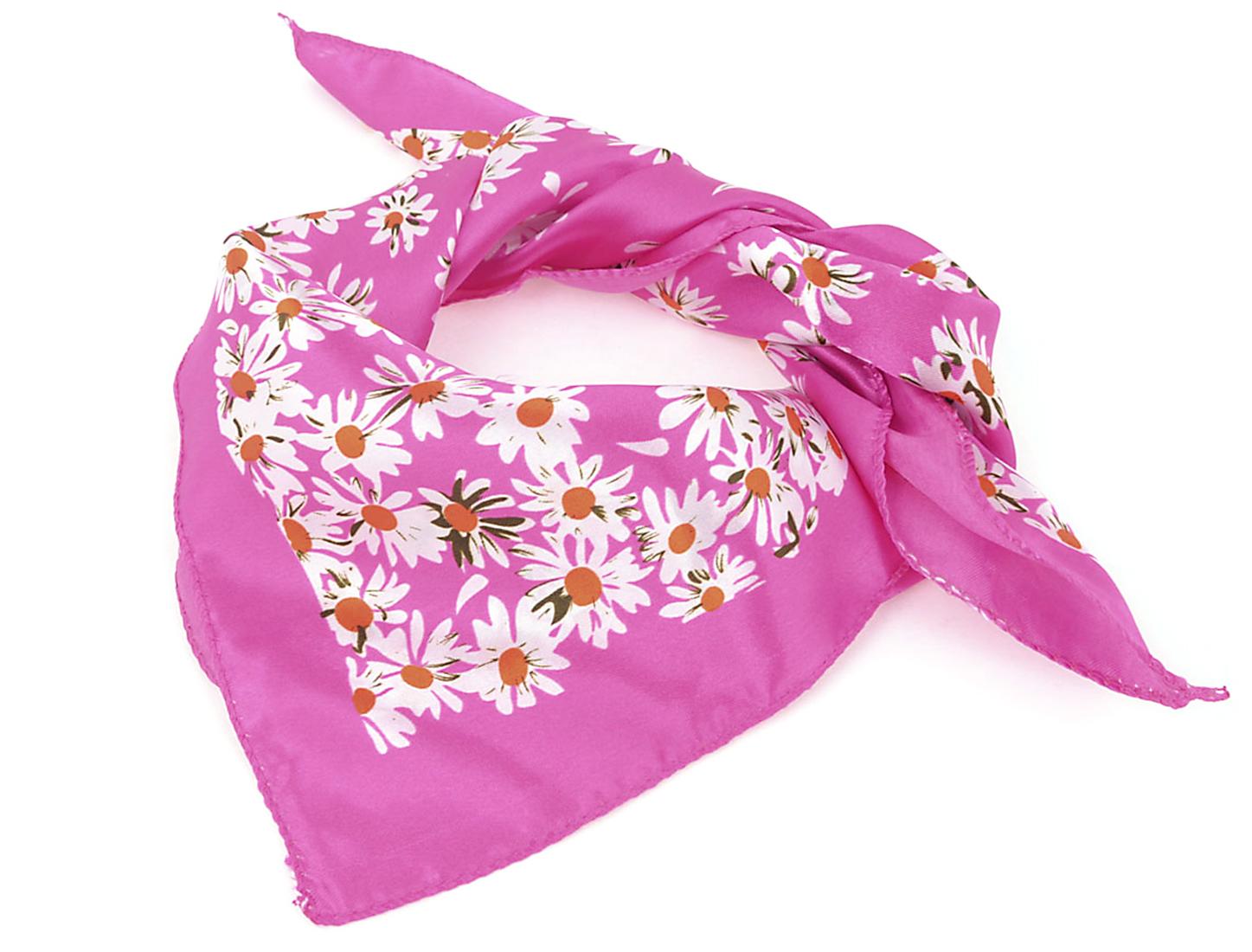 "Women Floral Daisy Print Polyester Square Kerchief Ornament Fuchsia 20""x20"""