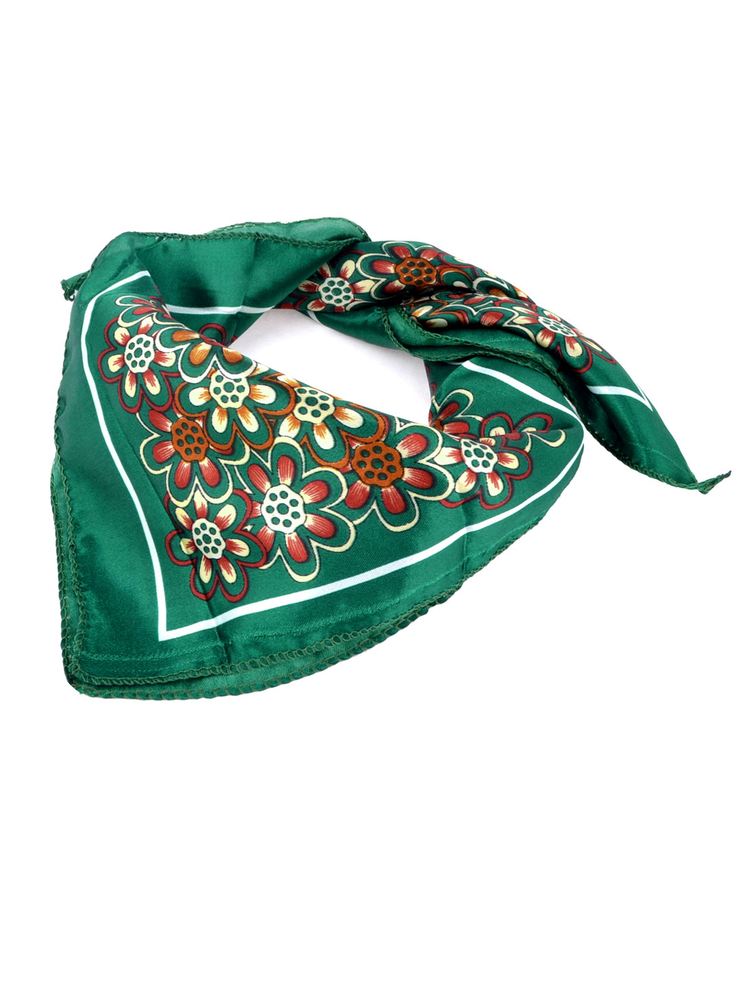 "Women Floral Prints Polish Style Polyester Neck Scarf Kerchief Ornament Dark Green White 20""x20"""