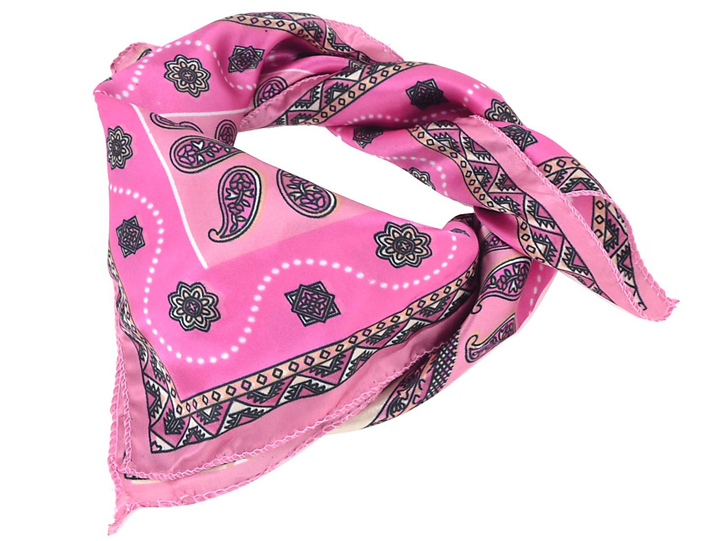 Women Bohemian Style Square Polyester Neck Scarf Kerchief Detail Fuchsia