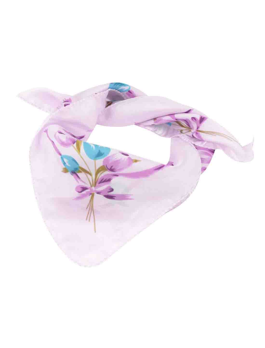 """Women Floral Tulip Prints Polyester Neck Scarf Kerchief Ornament Pink 20""""x20"""""""
