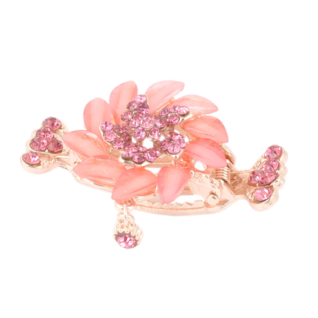 Pink Faceted Rhinestone Decor Sunflower Detail Hair Claw Clamp Clip