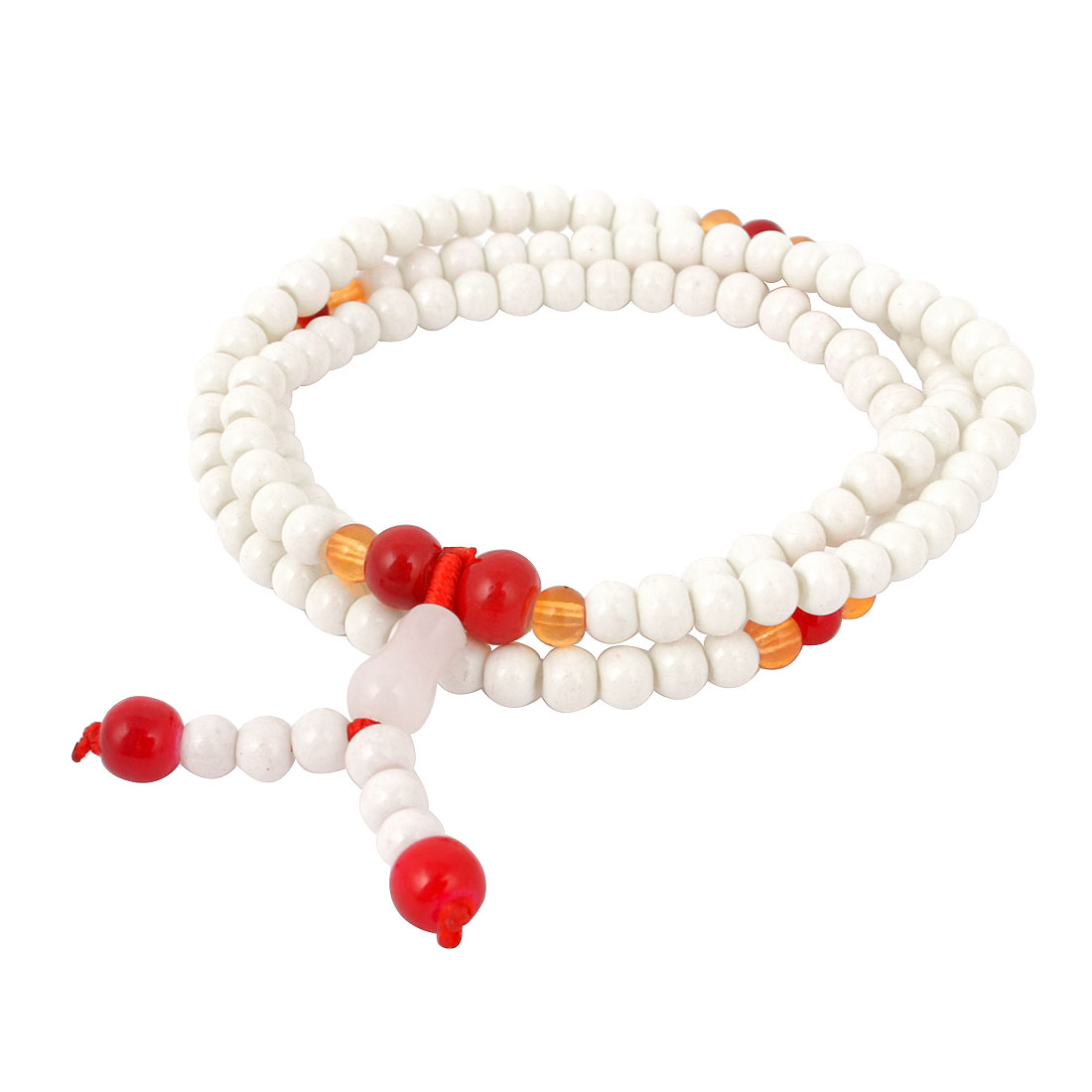 White Plastic Round Beads Ornament Elastic Band Adjustable Wrist Bracelet for Women