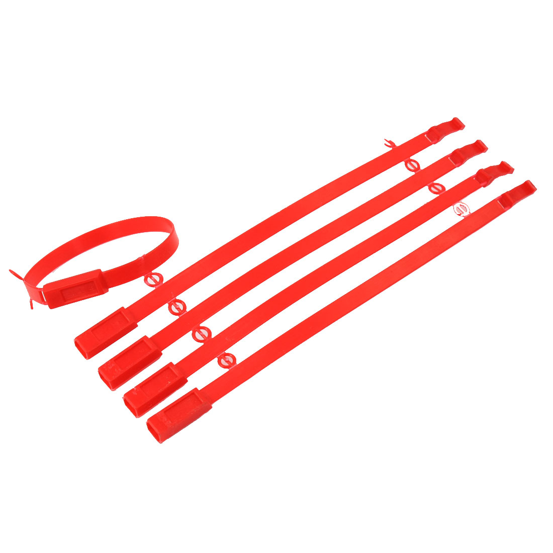 Red Plastic Locking Security Seal Strip 21cm Long 5 Pcs
