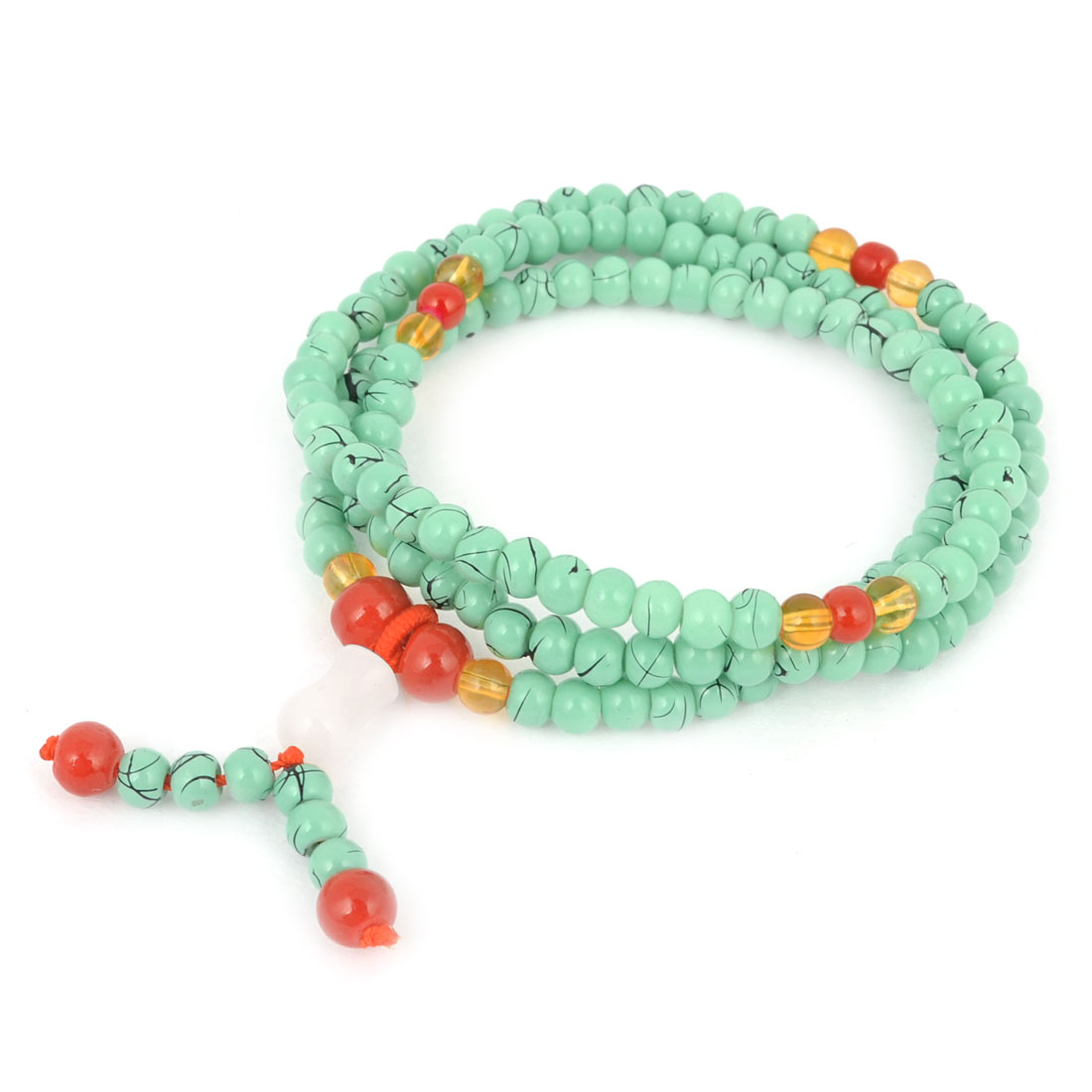 Ladies Plastic Round Beads Detailing Elastic Decorated Stretchy Band Bangle Bracelet Light Green