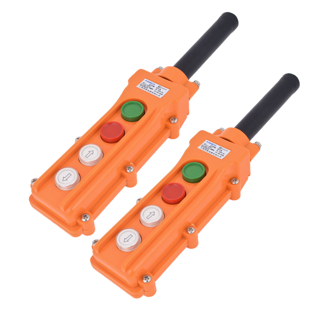 COB61A Up Down 2 Ways Orange Red Rainproof Hoist Crane Pushbutton Switch 2 PCS