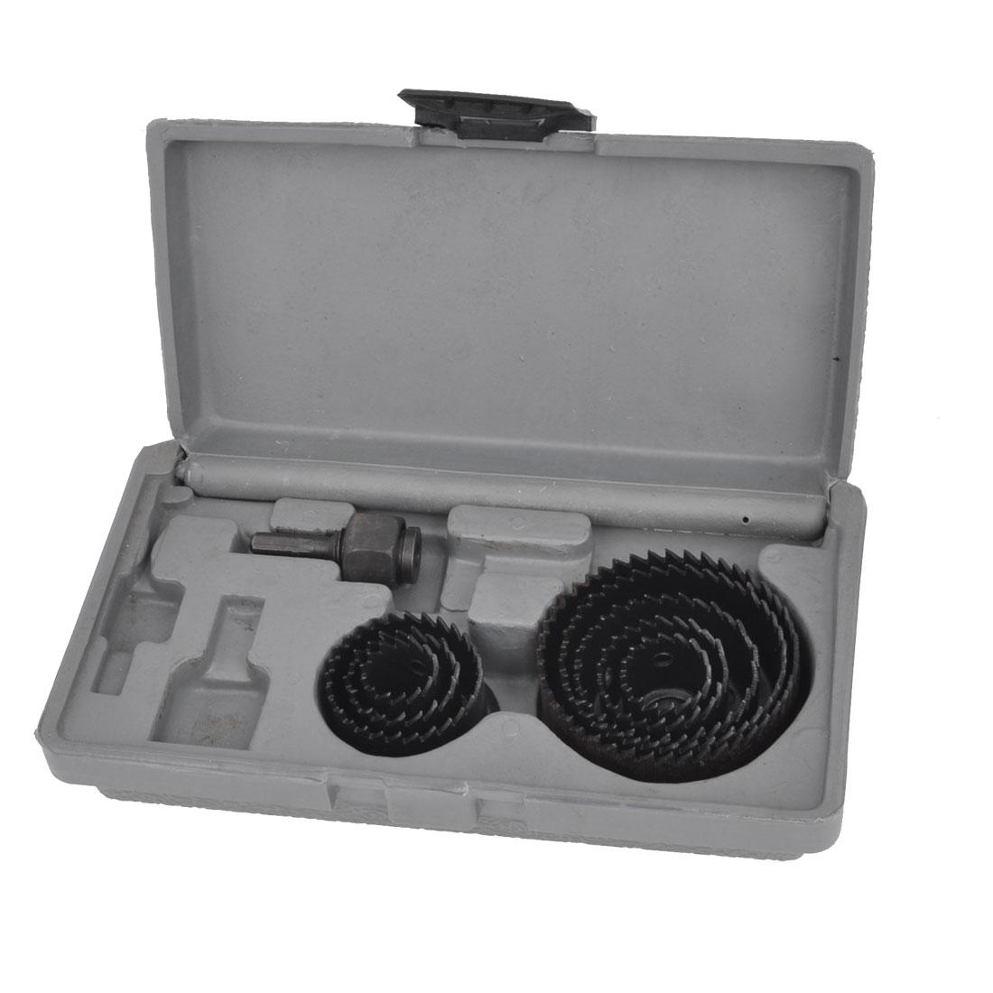 19-64mm Dia Round Triangle Shank Twist Drill Bit Hole Saw Set Gray w Gray Plastic Box 8 Pcs