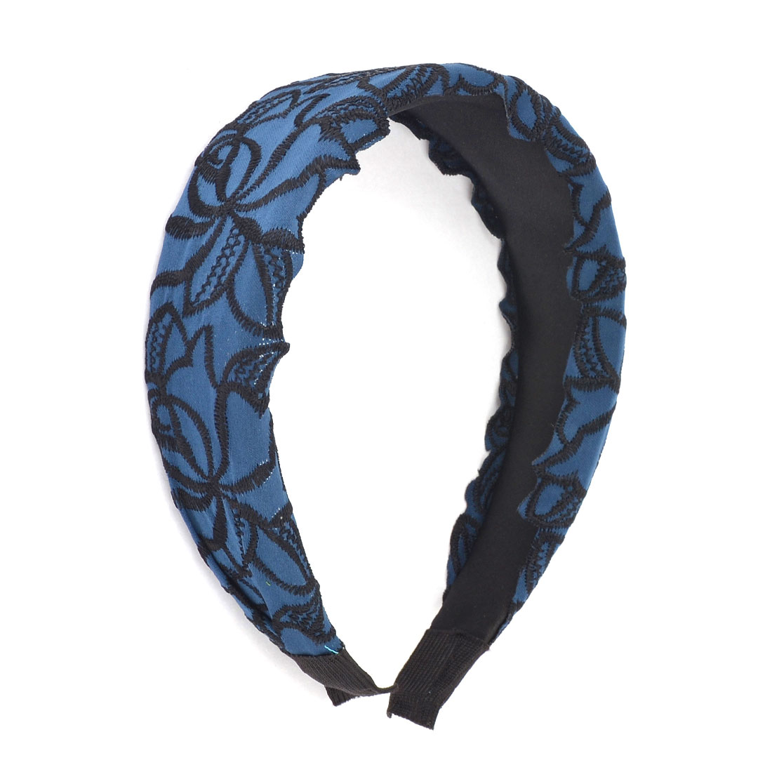 Flower Embroidery Coated Plastic Wide Hair Hoop Band Headband Blue Black for Ladies