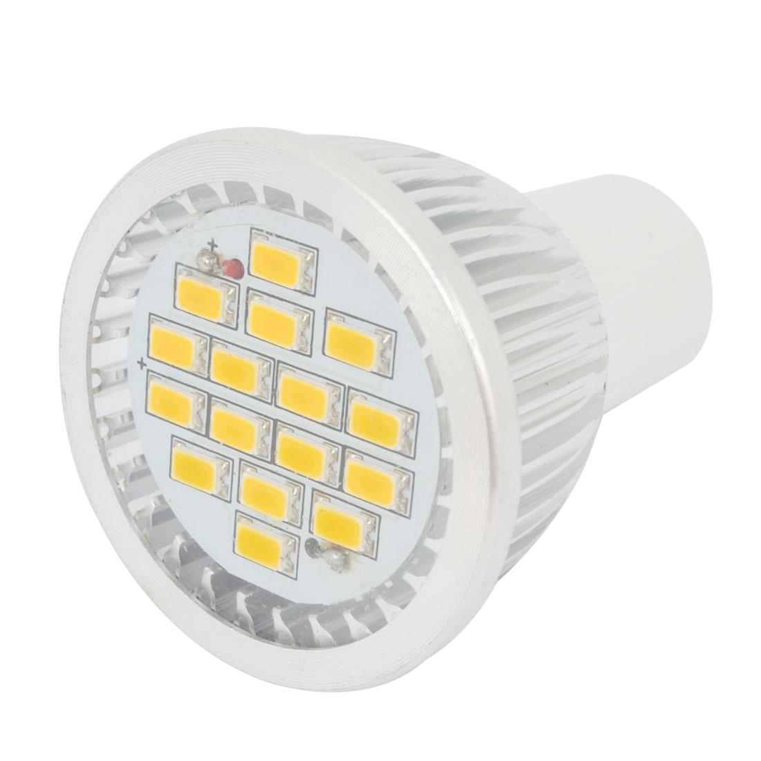AC 220V Yellow 16 3528 SMD LED Spot Light Energy Saving Bulb GU5.3 3000K 3W