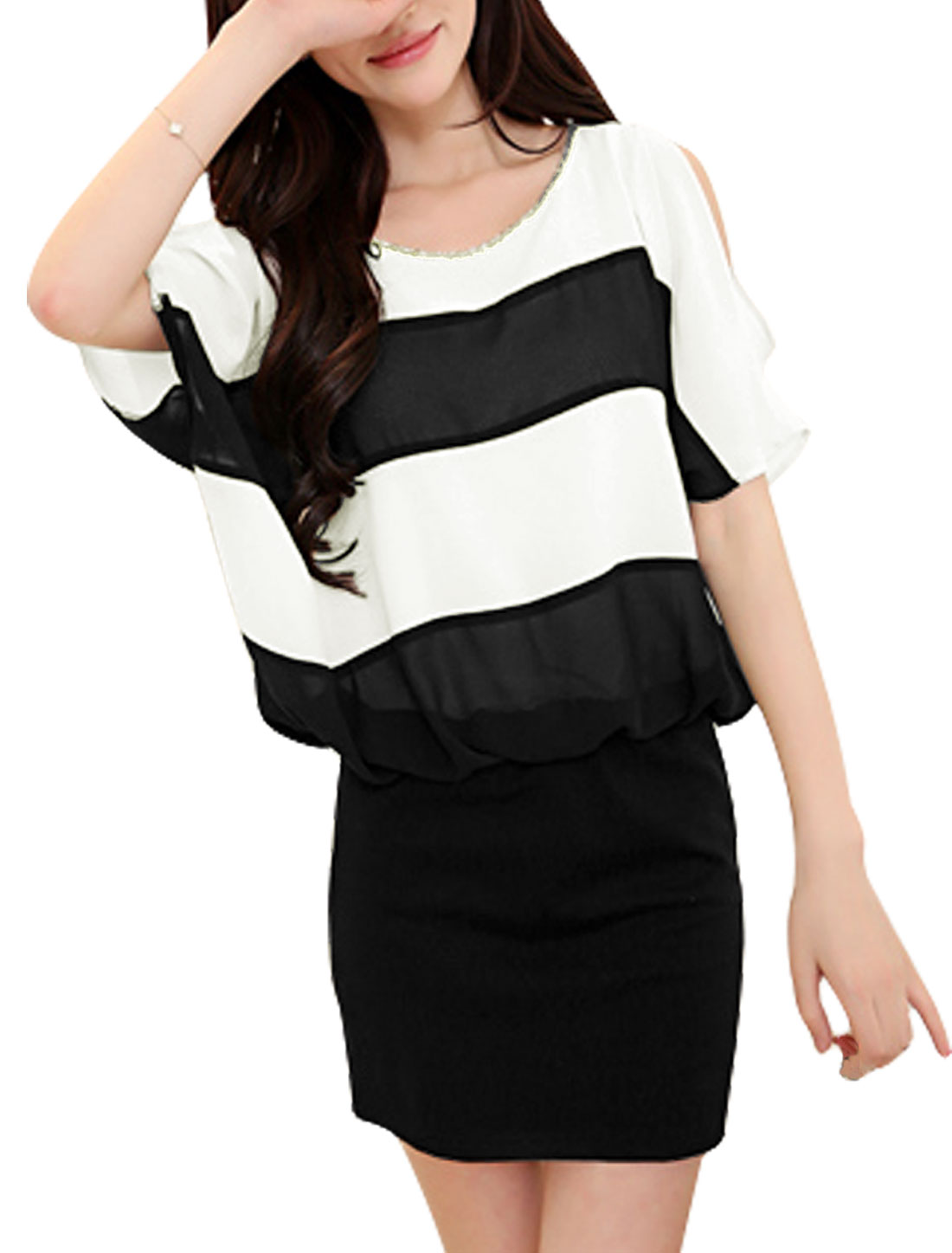 Lady 1/2 Batwing Sleeve Cut Out Shoulder Blouson Dress Black White S