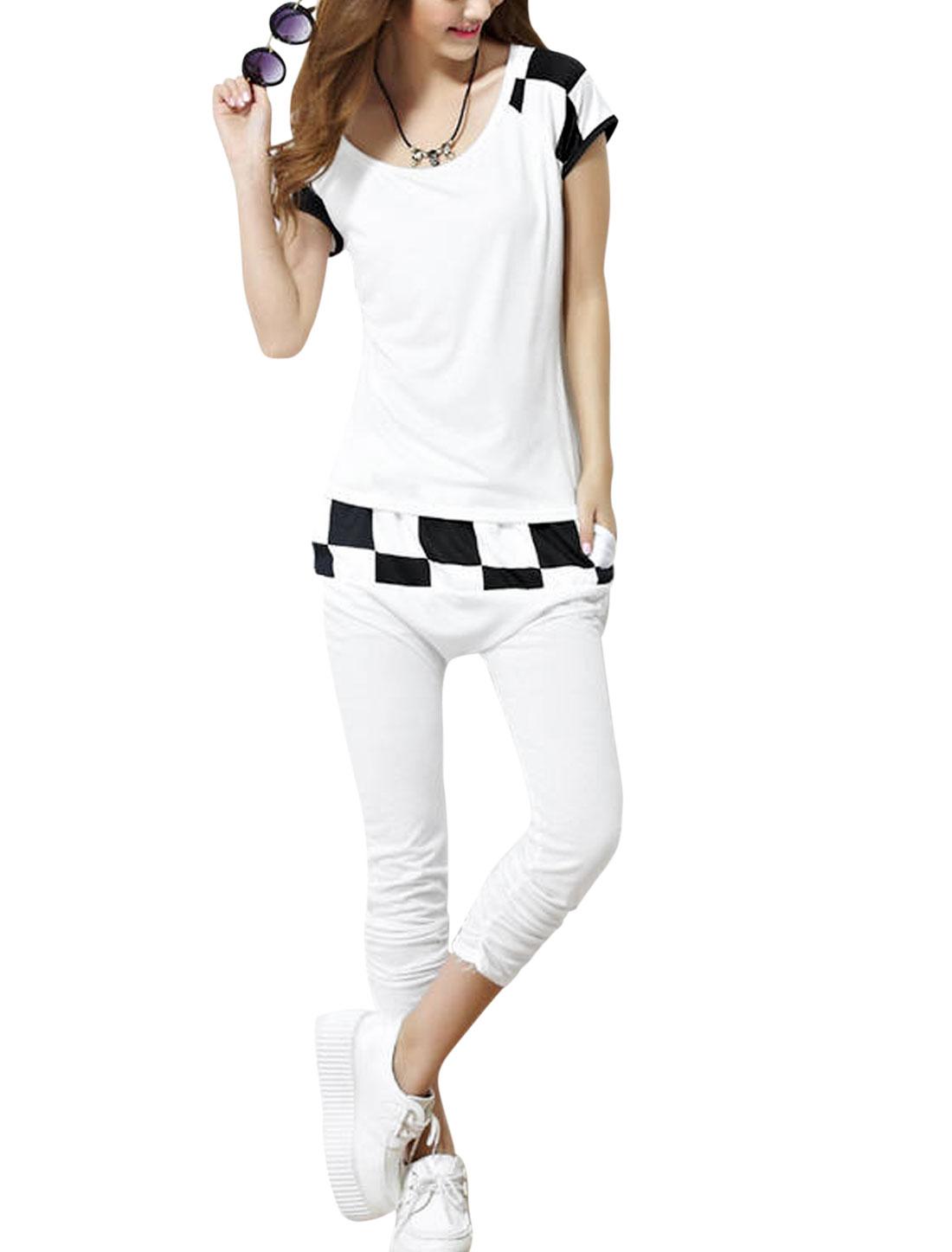 Lady Scoop Neck Short Sleeve Top w Plaids Detail Elastic Waist Capris White S