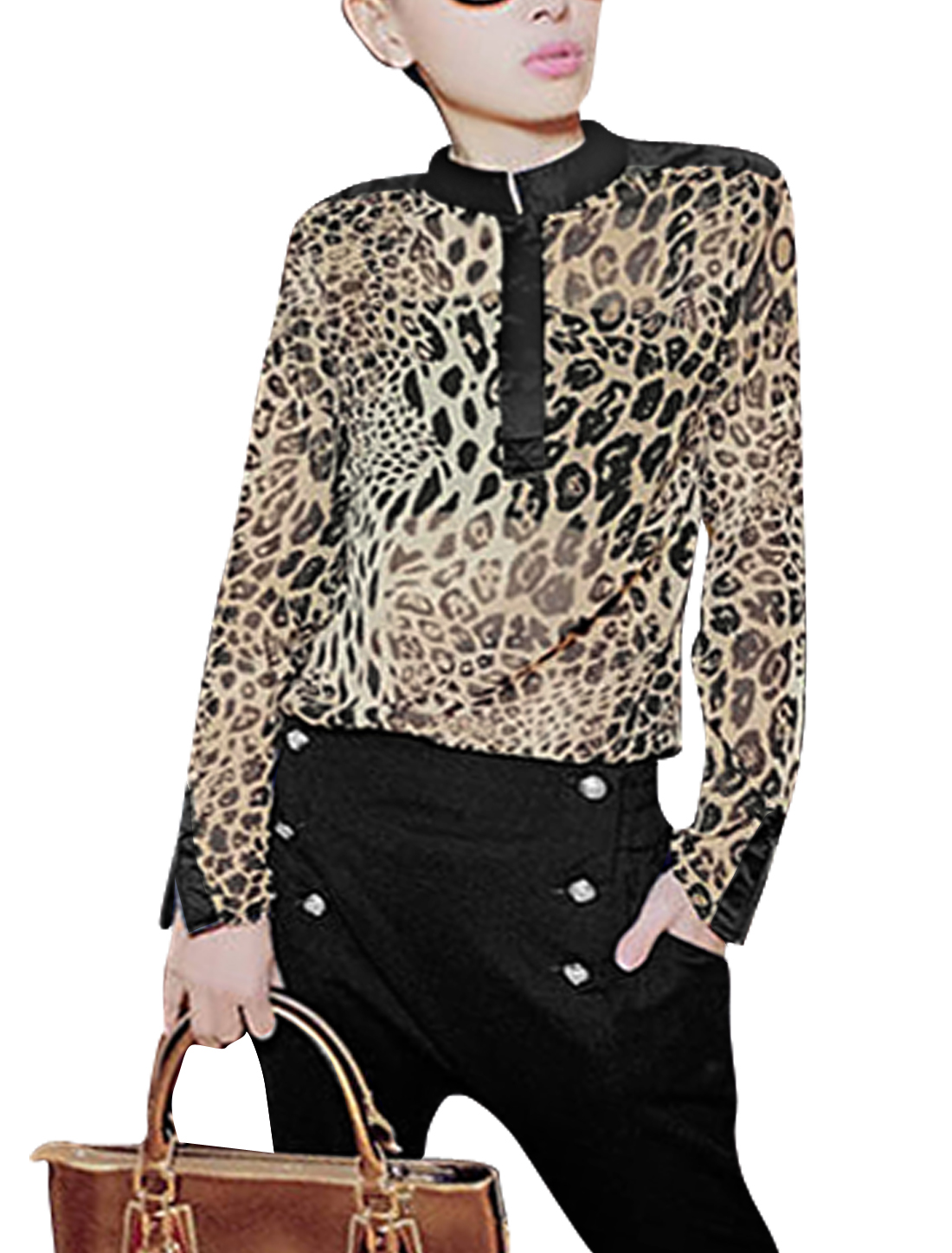 Ladies Sexy Stand Collar 1/2 Placket Leopard Prints Blouse Beige Black M
