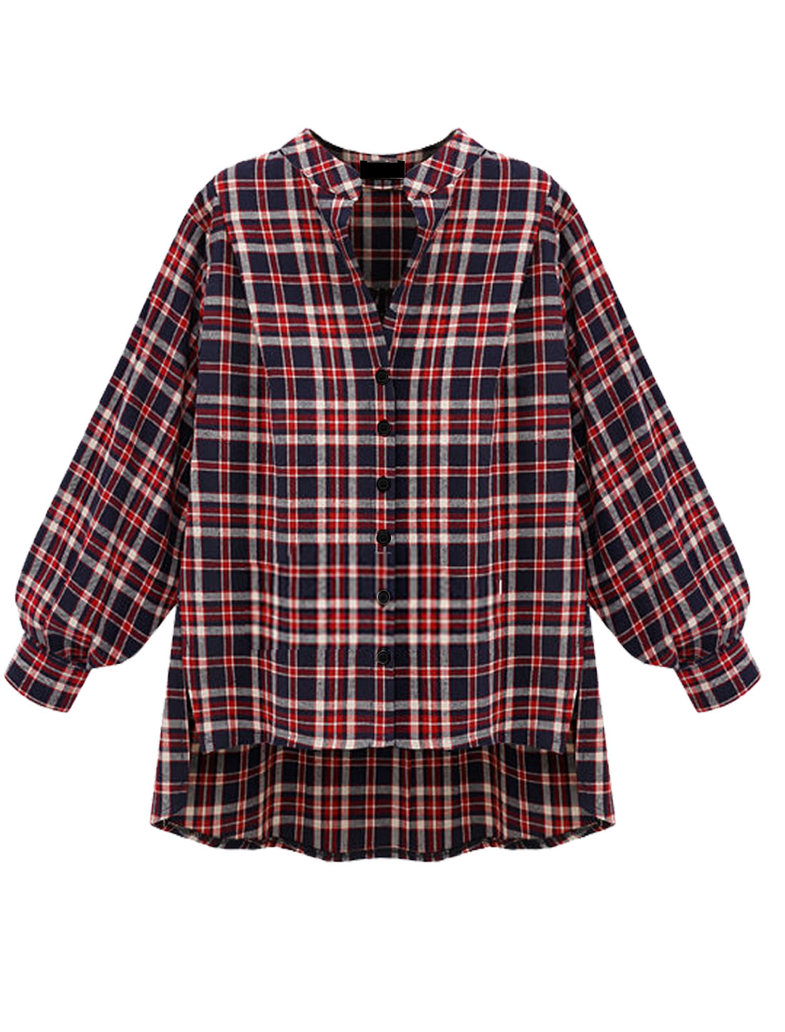 Women Convertible Collar Plaids High Low Hem Thin Jacket Red Navy Blue XS