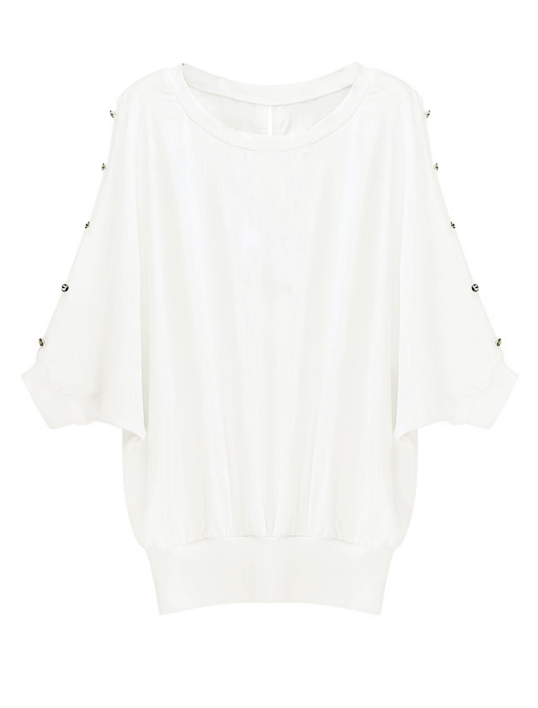 Lady Button-Up Batwing Sleeve Buttons Closure Back Blouse White XS