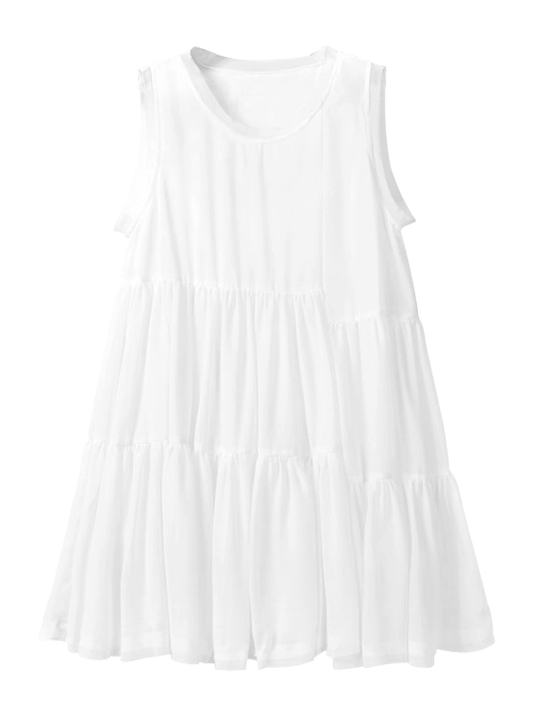 Lady Round Neck Sleeveless Lining Peasant Style Dress White S