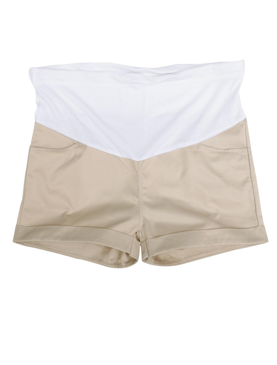 Motherhood Elastic Waistband Two Front Pockets Summer Shorts Khaki S